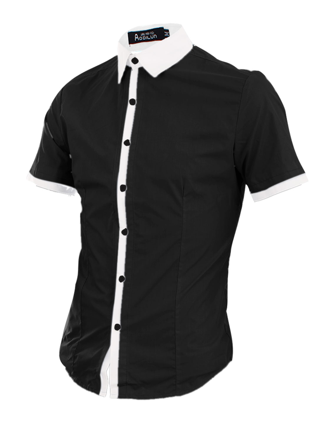 Men Point Collar Contrast Color Casual Shirt Black M