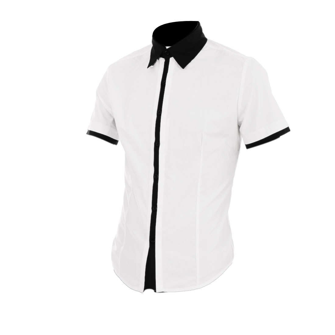 Men Short Sleeve Round Hem Summer Shirt White M