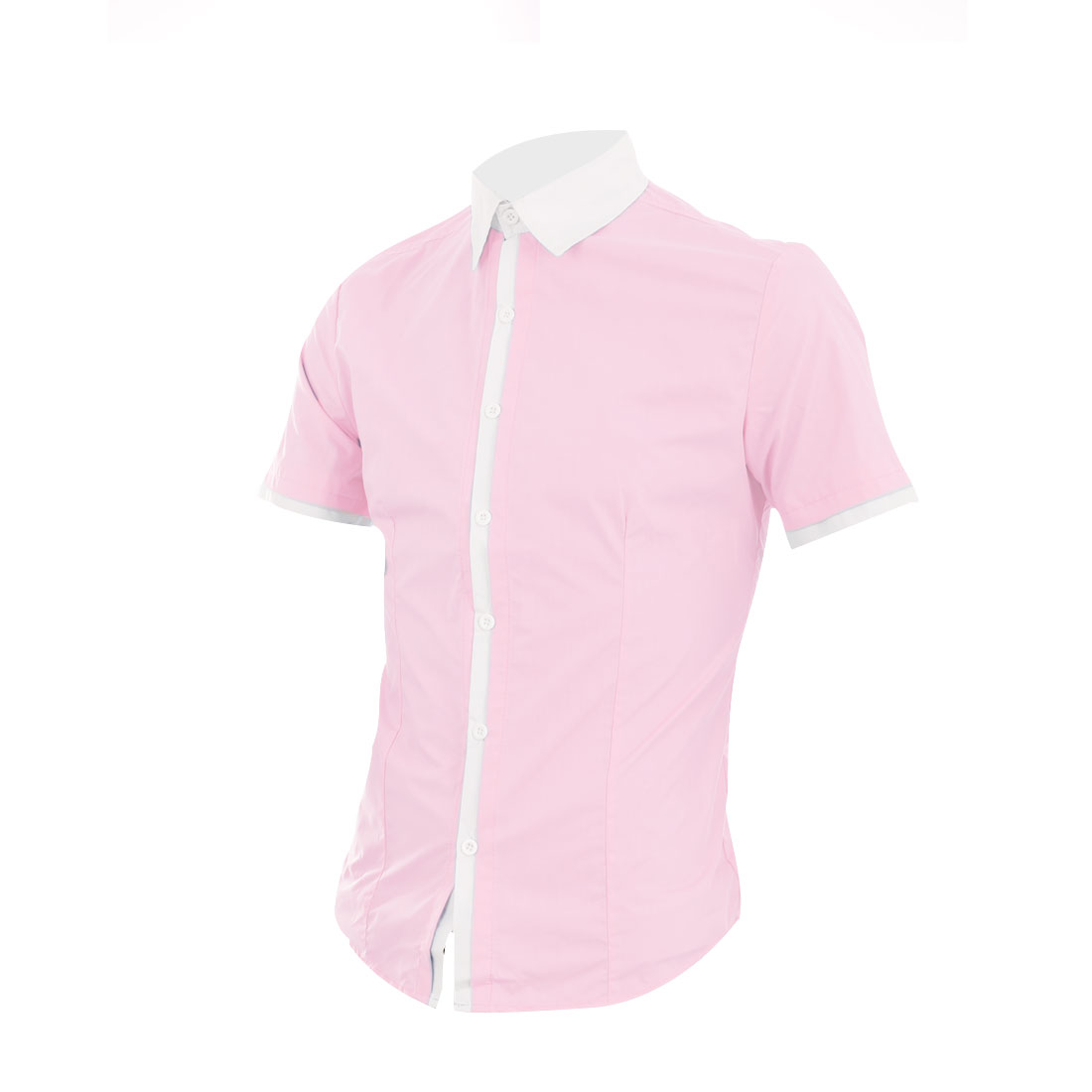 Men Single Breasted Patchwork Cuffs Leisure Shirt Pink M