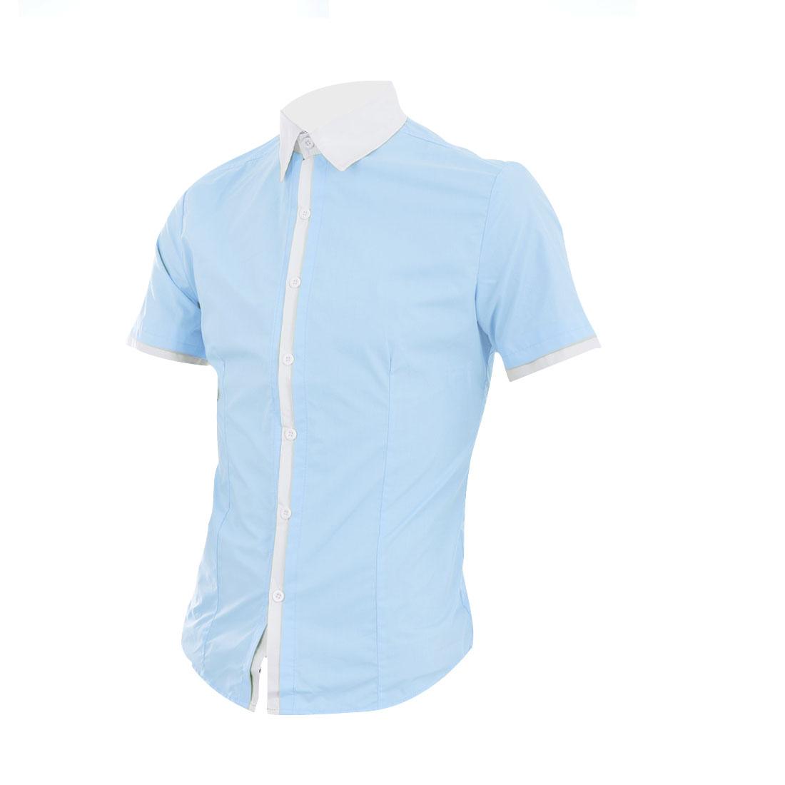 Men Button Down Splice Collar Shirt Light Blue M
