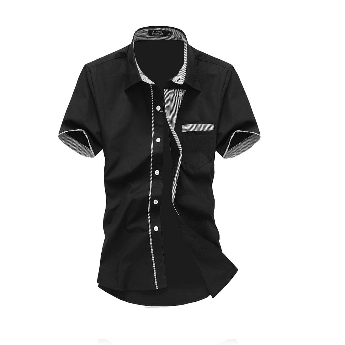 Men Button Up Point Collar Stripes Detail Shirt Black M