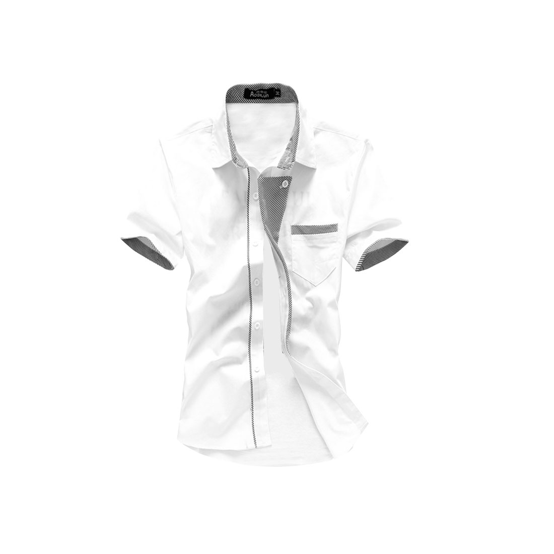 Men Button Down Short Sleeve Chest Pocket Shirt White M