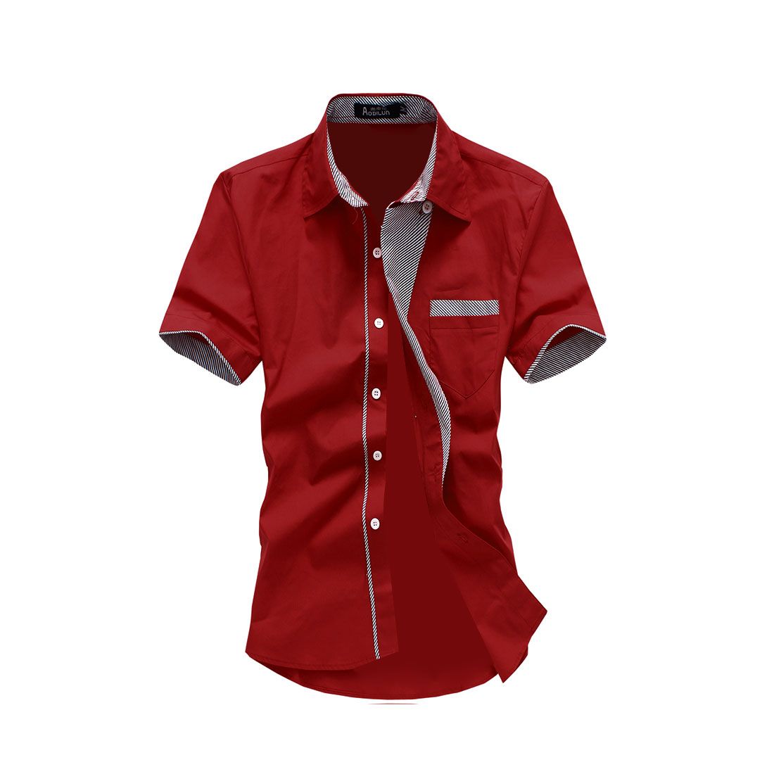Men Single Breasted Point Collar Round Hem Shirt Red M