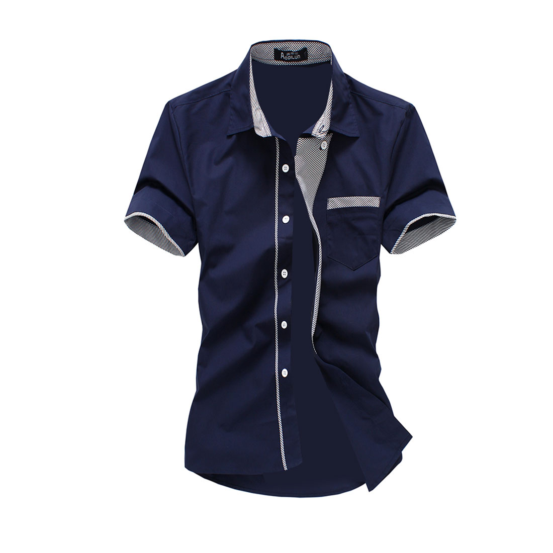 Men Button Closure Summer Wearing Casual Shirt Navy Blue M