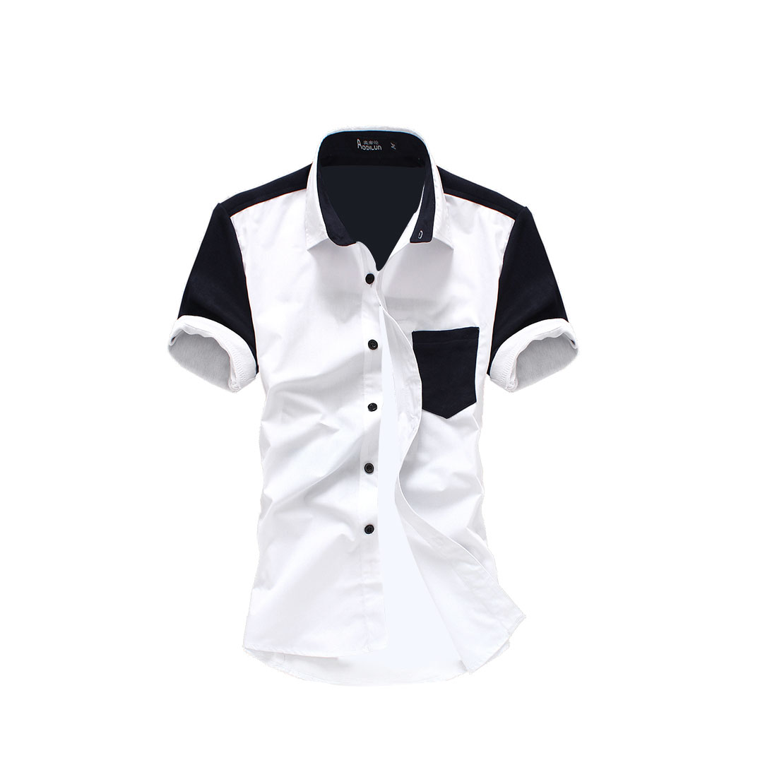 Men White Navy Blue M Short Sleeve Point Collar Button Front Top Shirt