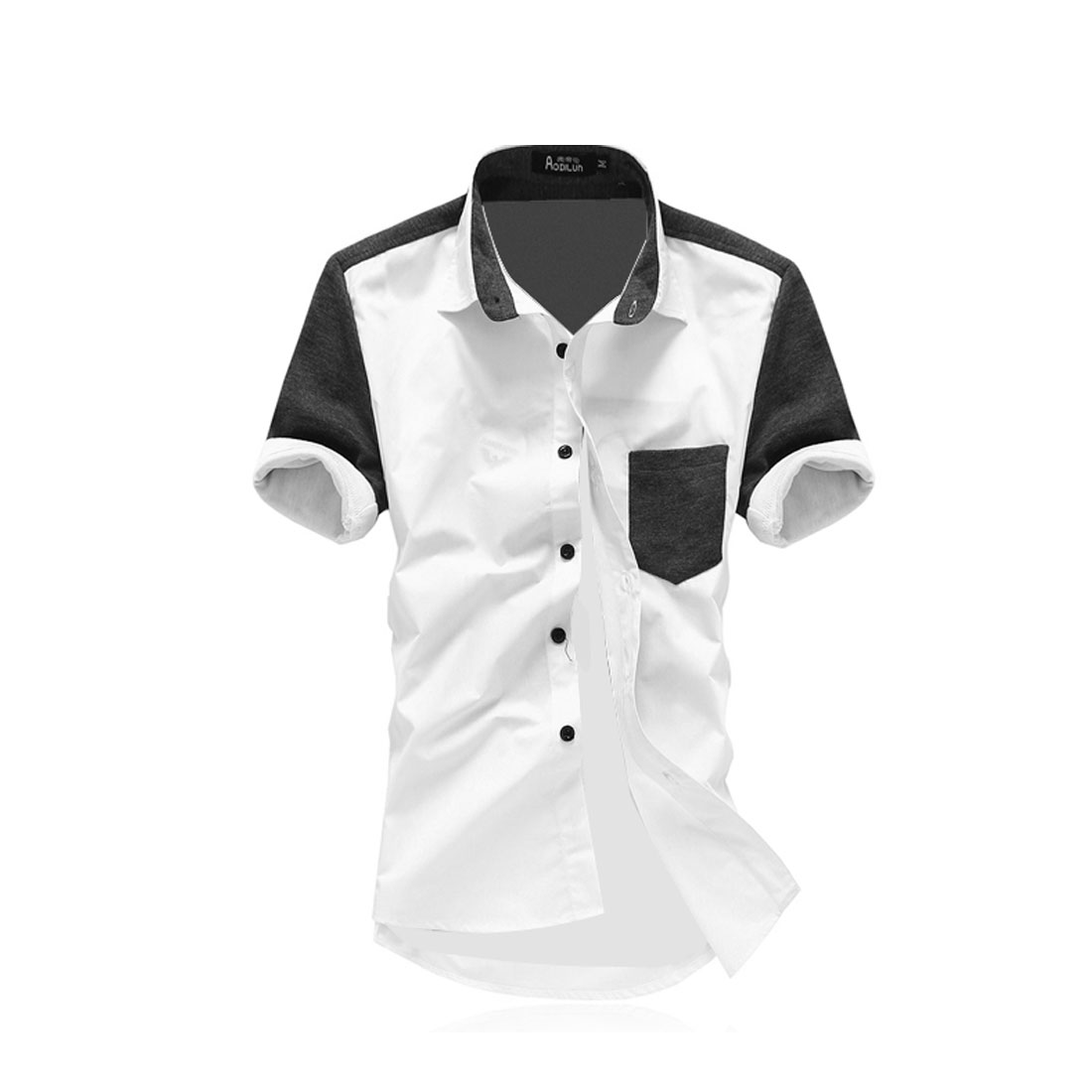 Men Grey White M Panel Single Breasted Point Collar Slim Fit Shirt