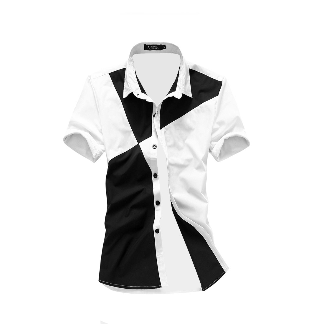 Men Black White M Short Sleeve Button Front Point Collar Casual Shirt