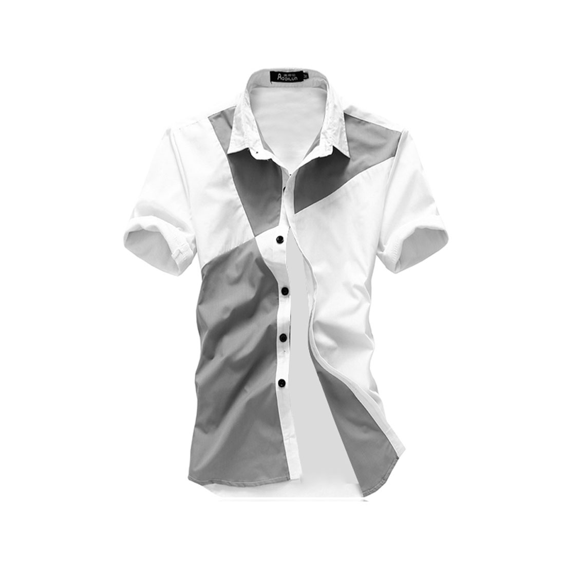 Men White Light Grey M Point Collar Single Breasted Style Slim Fit Shirt