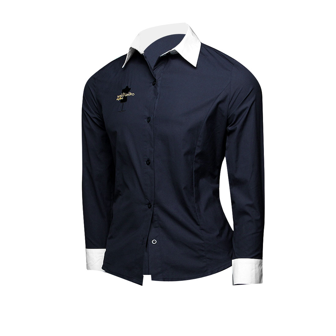 Men Point Collar Embroidery Detail Shirt Navy Blue White M