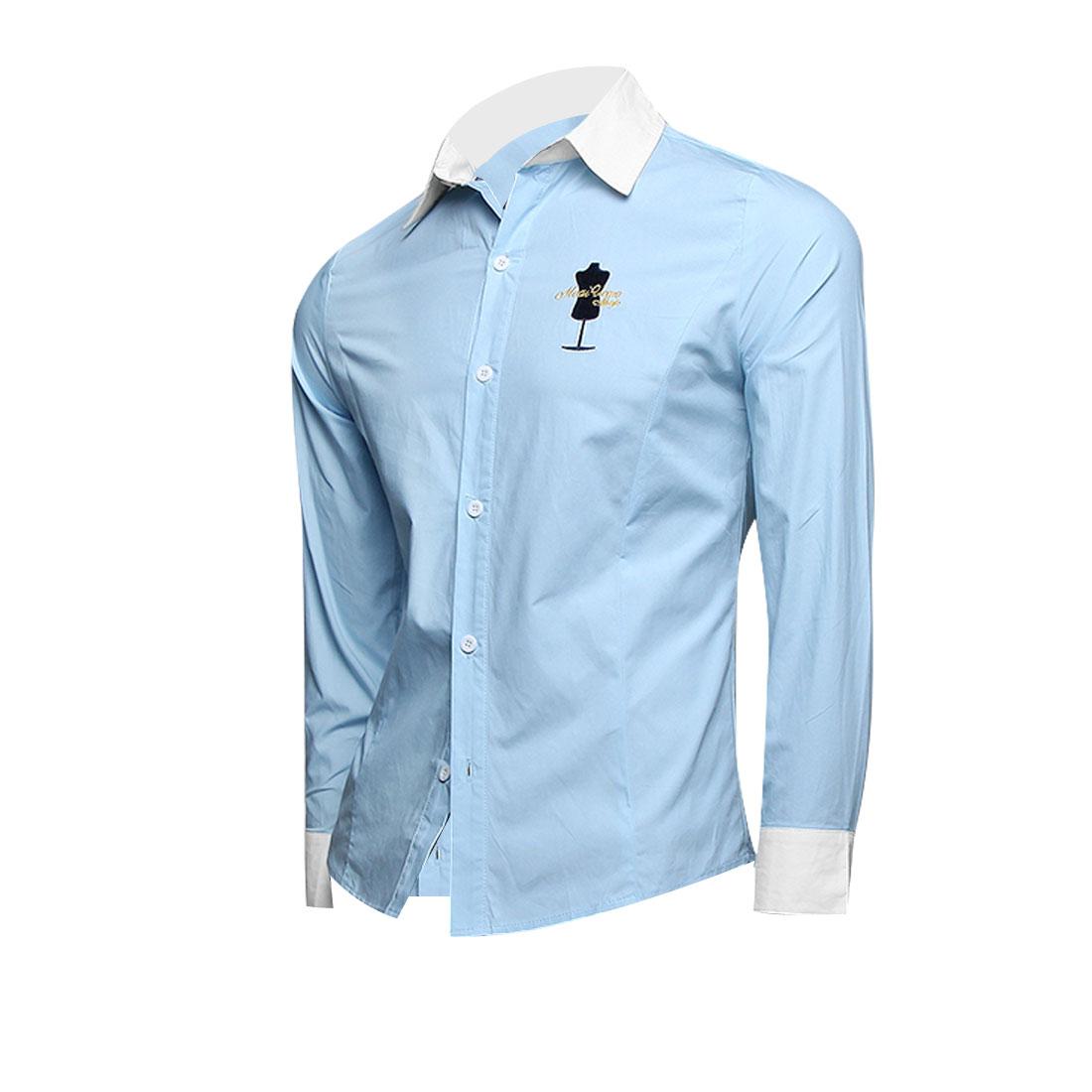 Men Button Front Long Sleeve Splice Shirt Light Blue White M
