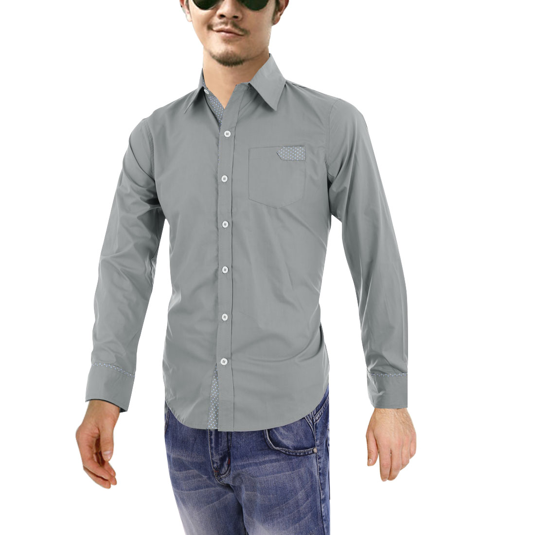 Men Grey M Point Collar Dots Pattern Front Button Closure Slim Fit Shirt