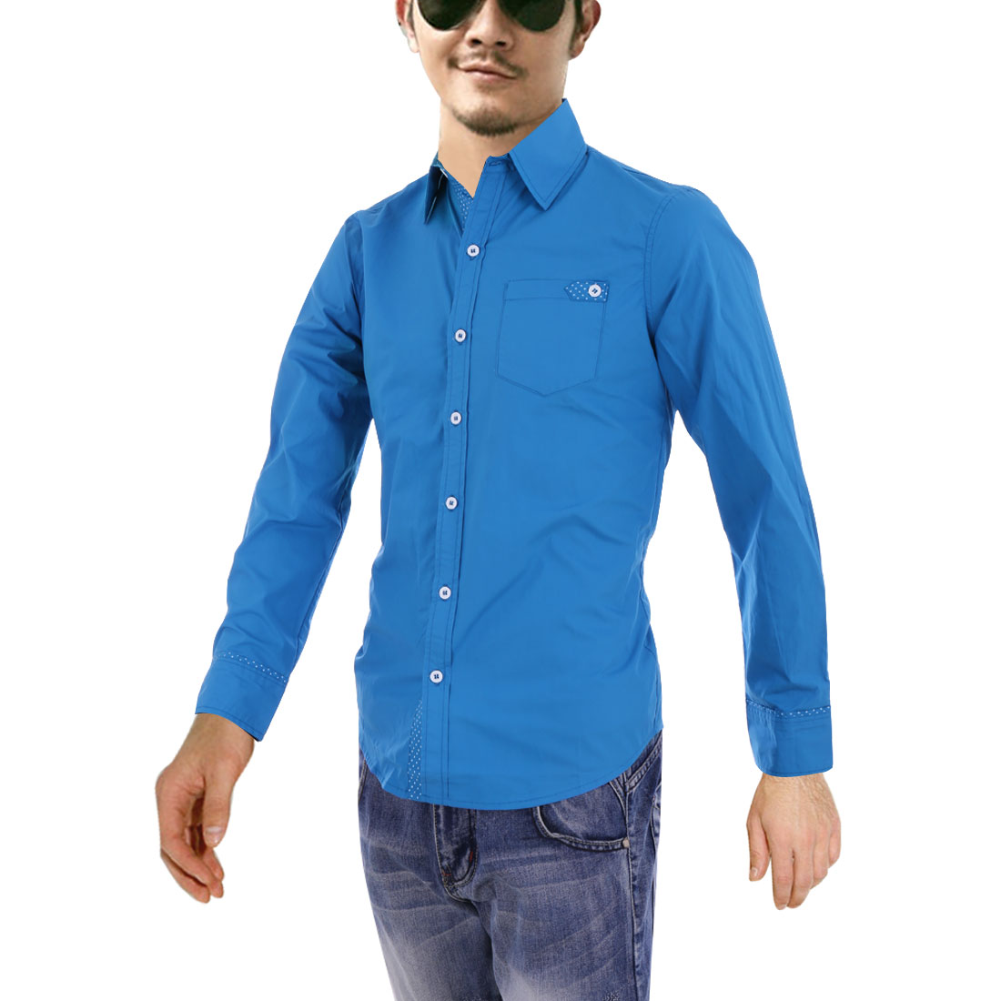 Men M Blue Long Sleeve Point Collar Button Closure Slim Fit Top Shirt