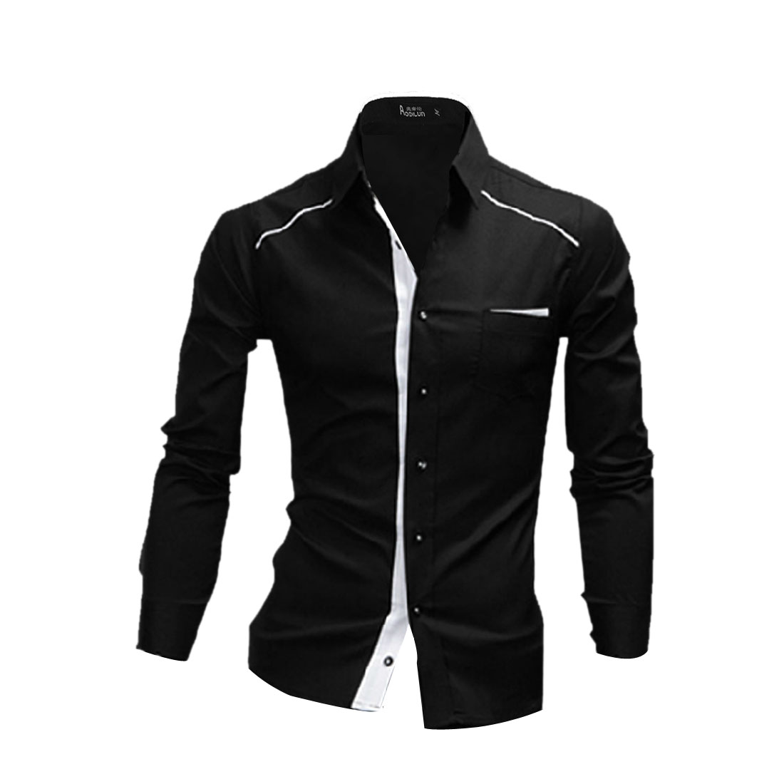 Men's Point Collar Buttoned Long Sleeves Fashion Black L Shirt
