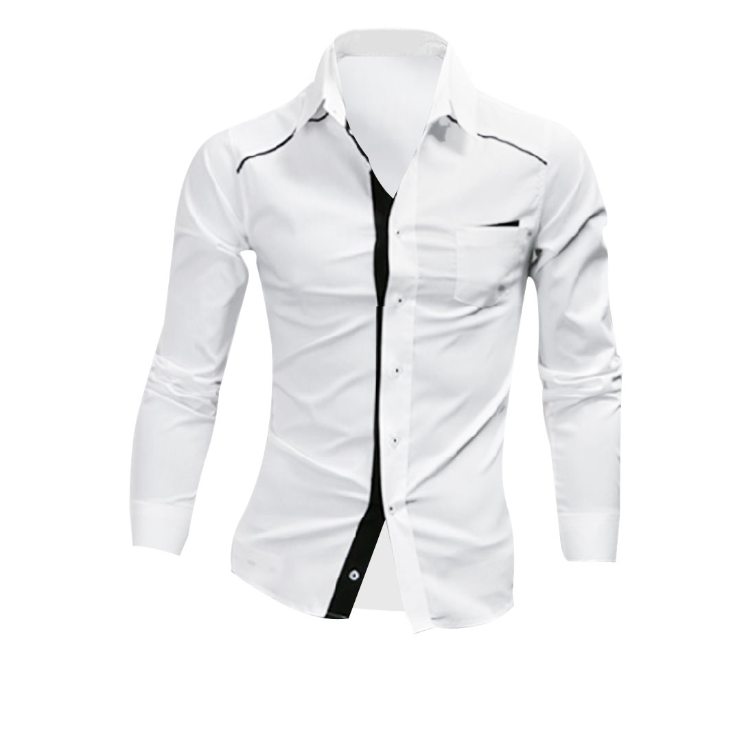 Men's Point Collar Buttoned-front Pockets Casual Fashion White L Shirt
