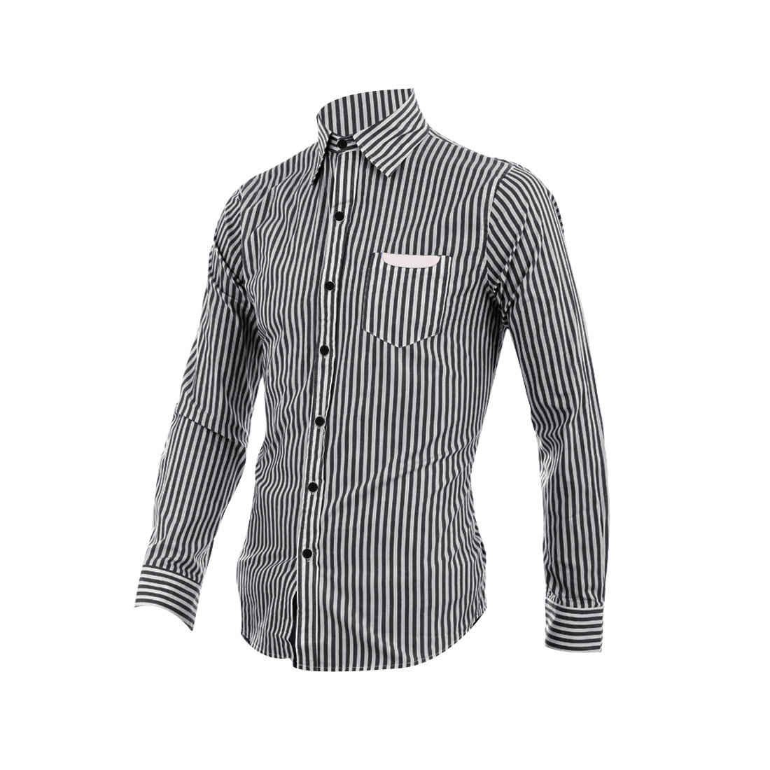 Mens Point Collar Black White Stripes Pattern Button Down Casual Shirt M