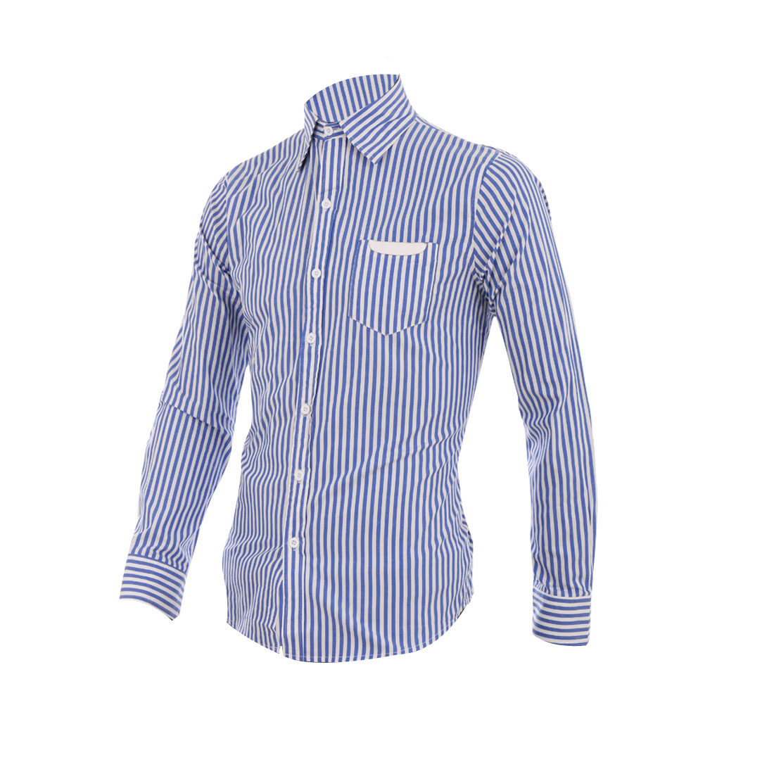Man Stylish Blue White Stripes Pattern Button Down Casual Shirt M