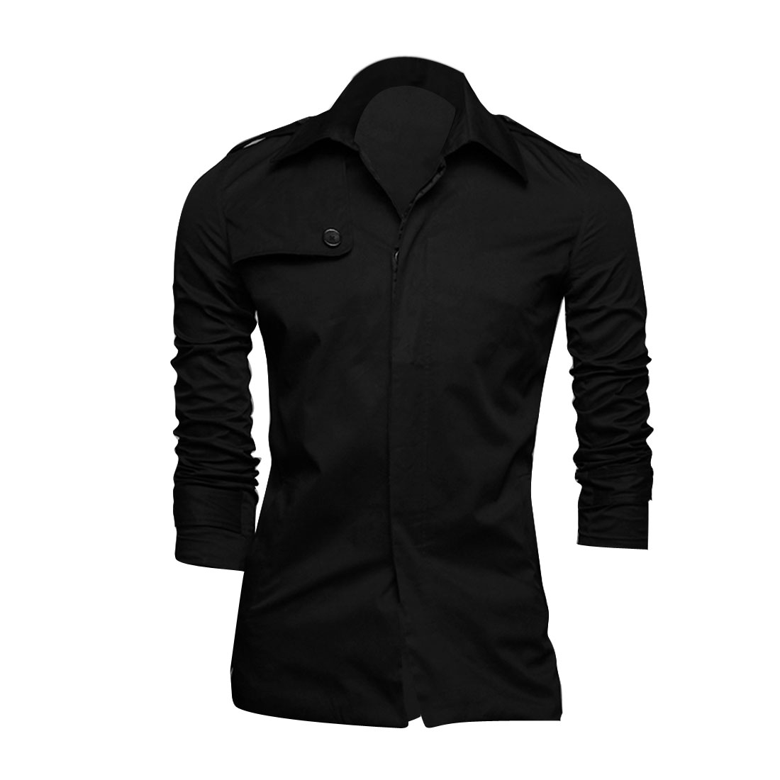Men M Black Front Button Closure Point Collar Two Pockets Casual Jacket