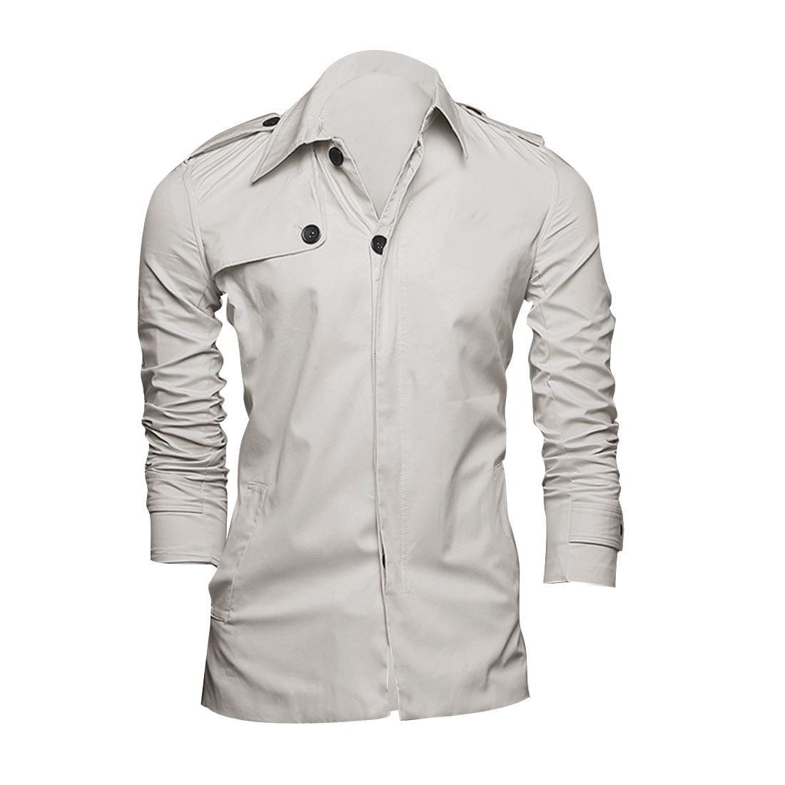 Men Beige M Point Collar Long Sleeve Design Slim Fit Button Front Jacket