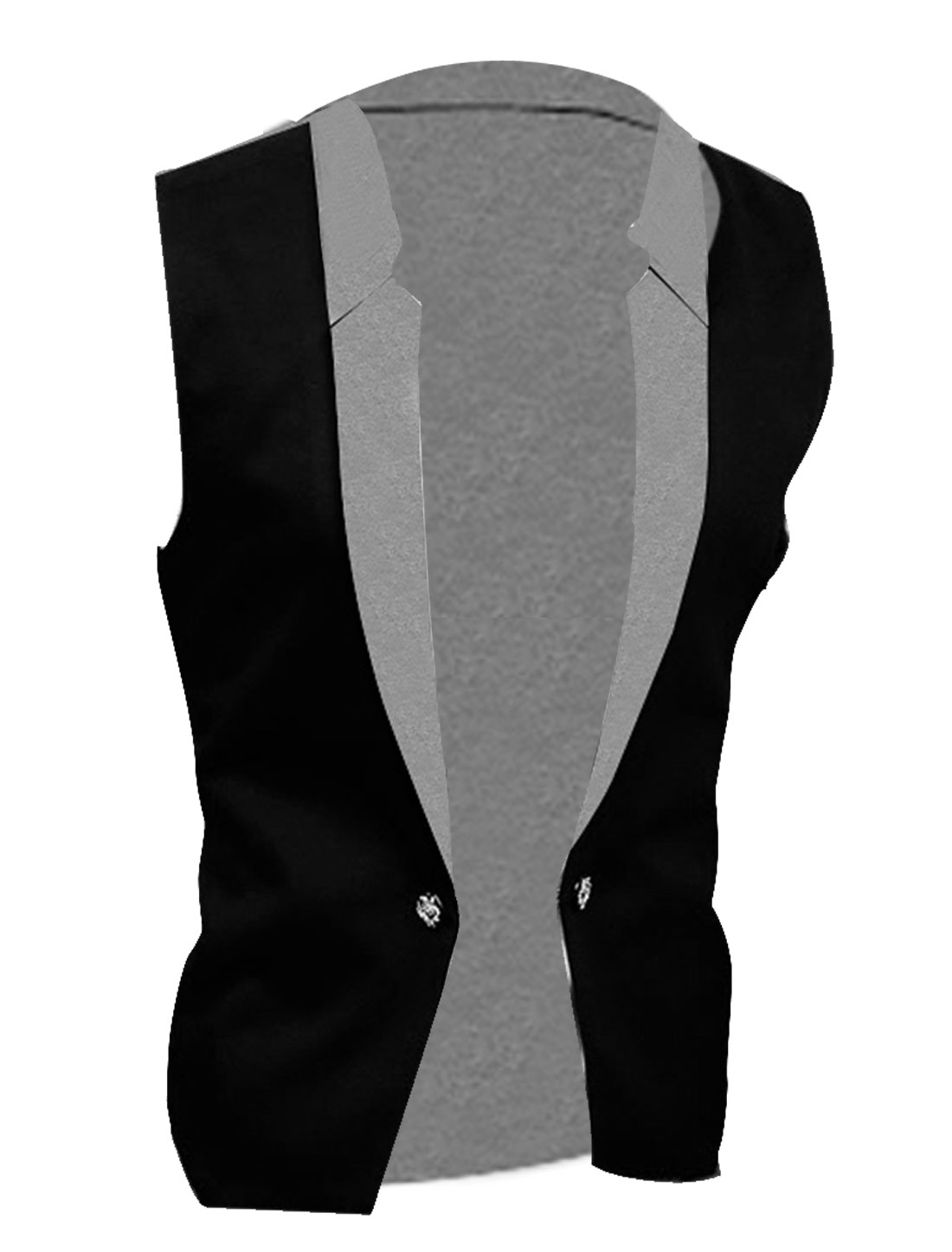 Men M Black Notched Lapel Button Closure Sleeveless Design Slim Fit Vest