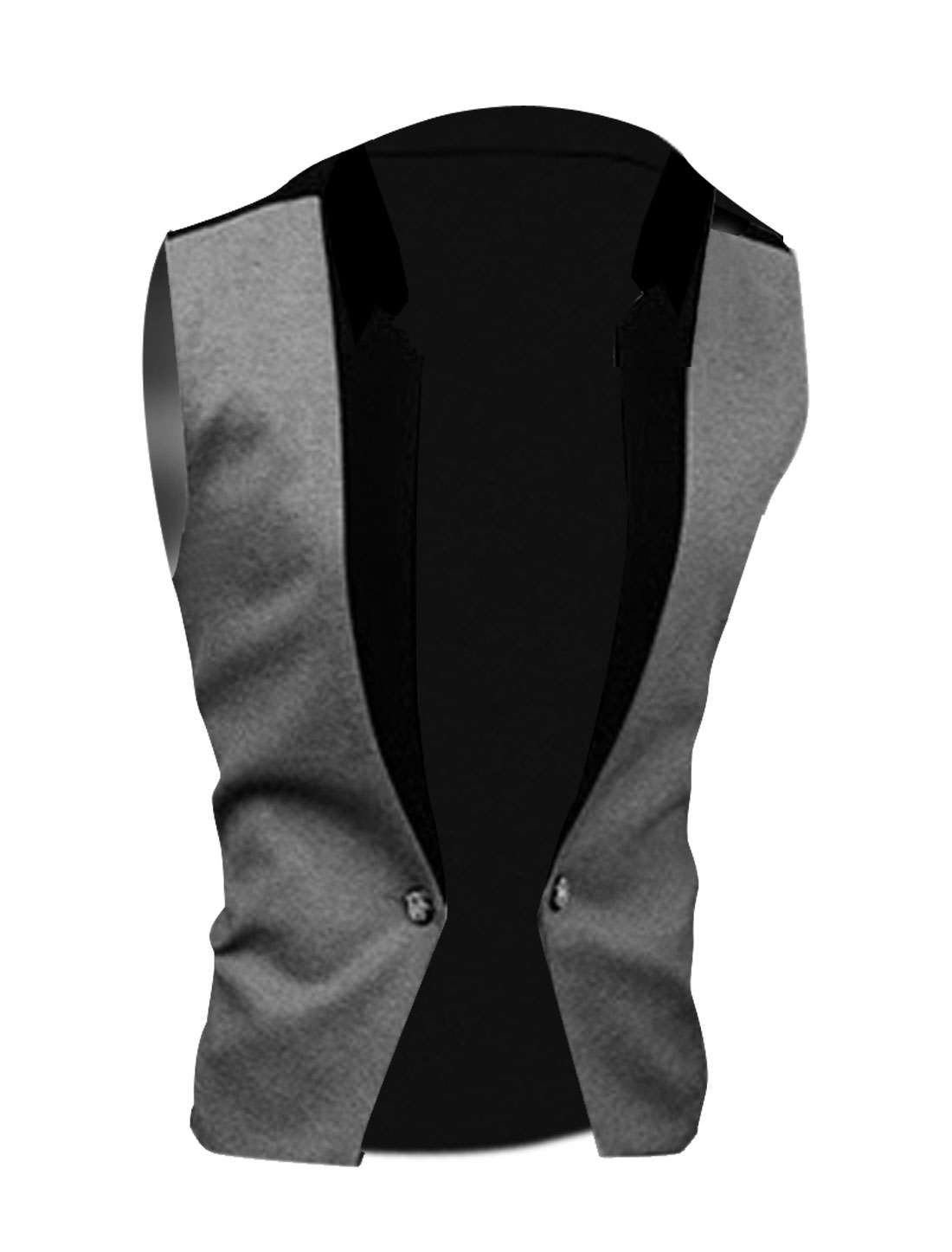 Men M Grey Sleeveless Front Closure Two Tone Color Block Casual Vest