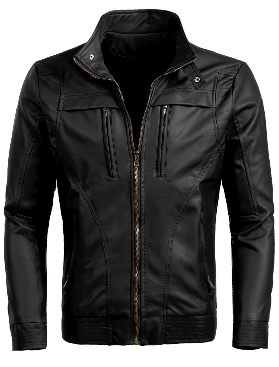 Men M Black Stand Collar Skinny Fit Front Pockets Casual Motorcycle Jacket