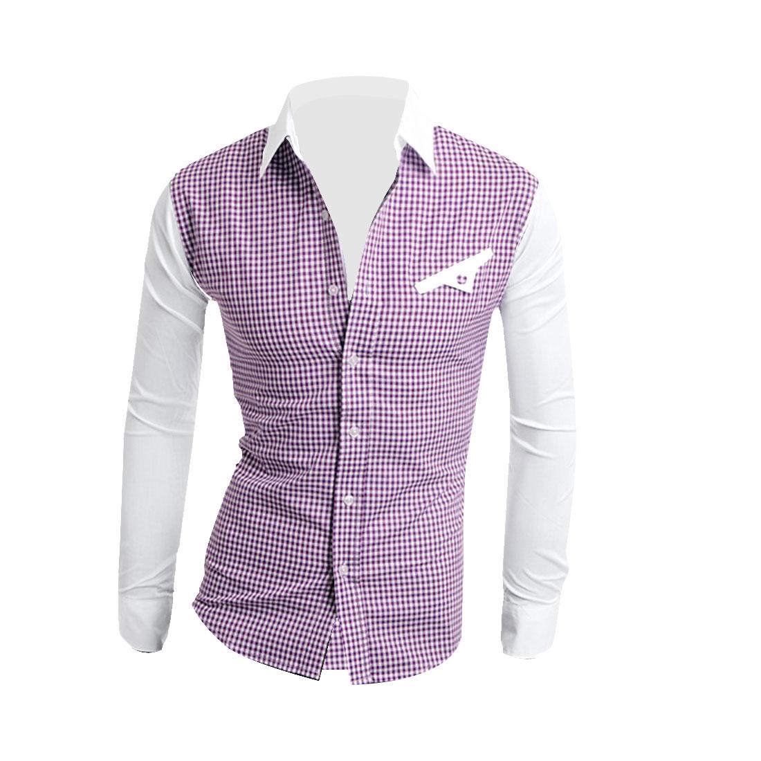 Men Button Down Long Sleeve Splice Shirt Purple White M