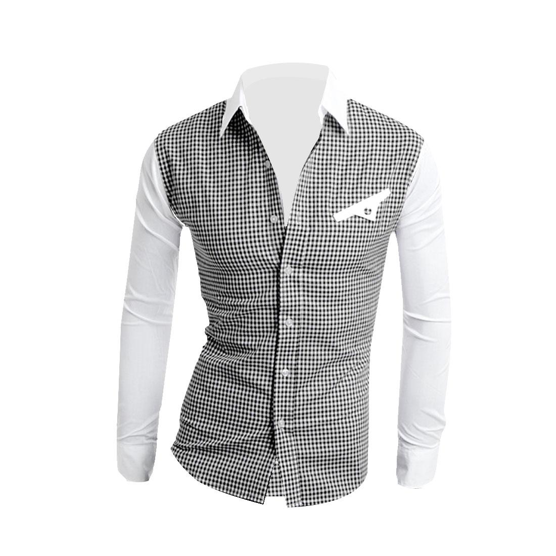 Men Point Collar Button Down Plaids Shirt Black White M
