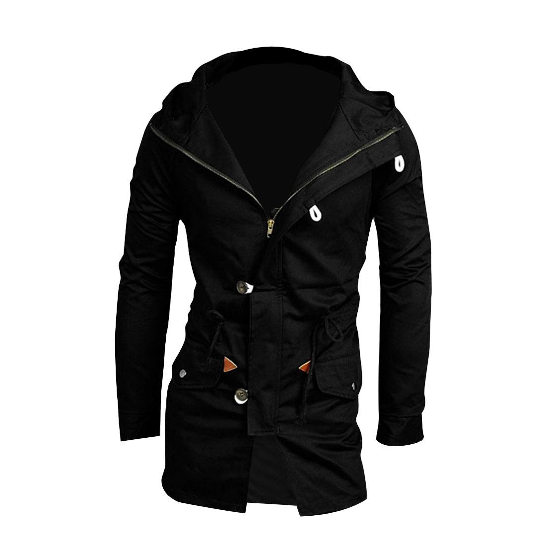 Men L Black Long Sleeve Slim Fit Front Button Closure Top Jacket Coat