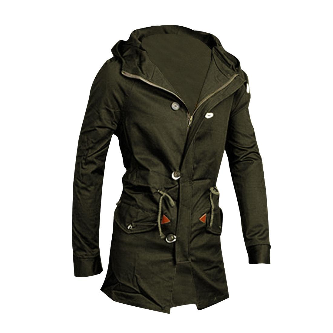 Men L Olive Green Hooded Flap Pockets Front Zipper Skinny Fit Jacket
