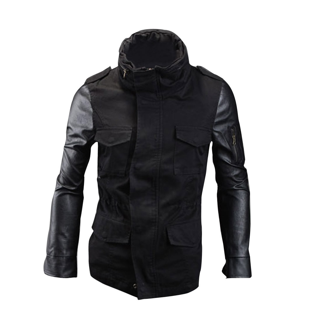 Men Stand Collar Zip Closure Panel Jacket Black M