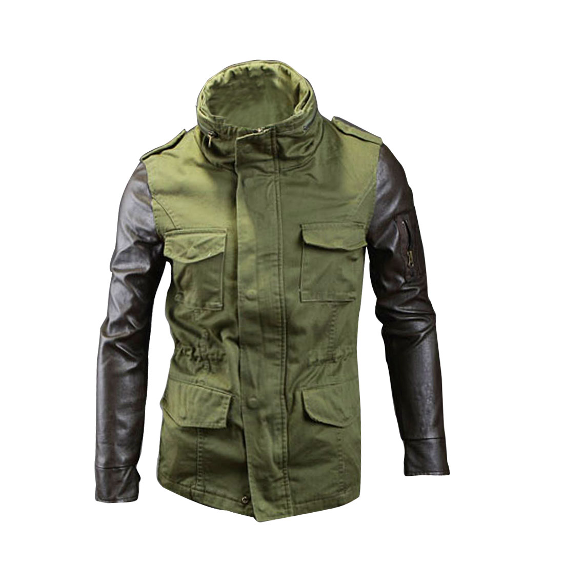 Men Single Breasted Long Sleeve Pockets Jacket Army Green M
