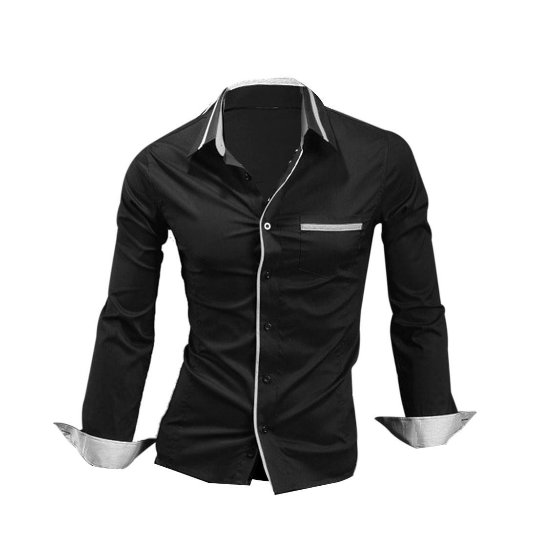 Men Button Up Long Sleeve Pocket Front Shirt Black M