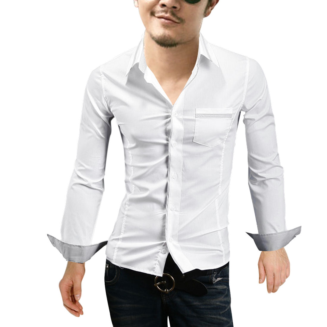Men Point Collar Button Down Autumn Shirt White M