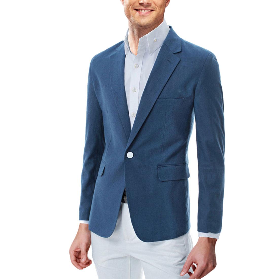 Men Long Sleeve Fake Chest Pocket Blazer Navy Blue M