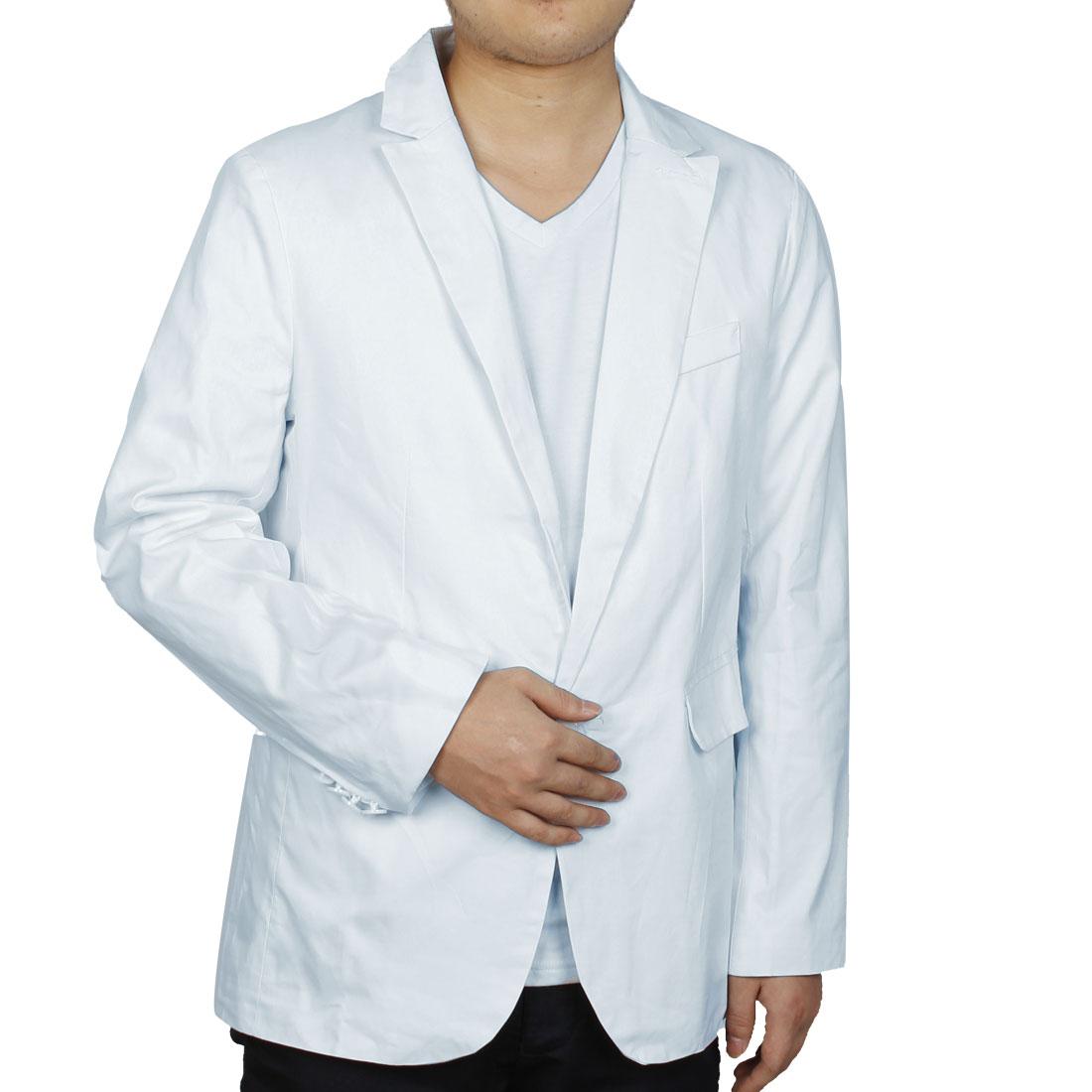 Men One Button Closure Autumn Wearing Blazer White M