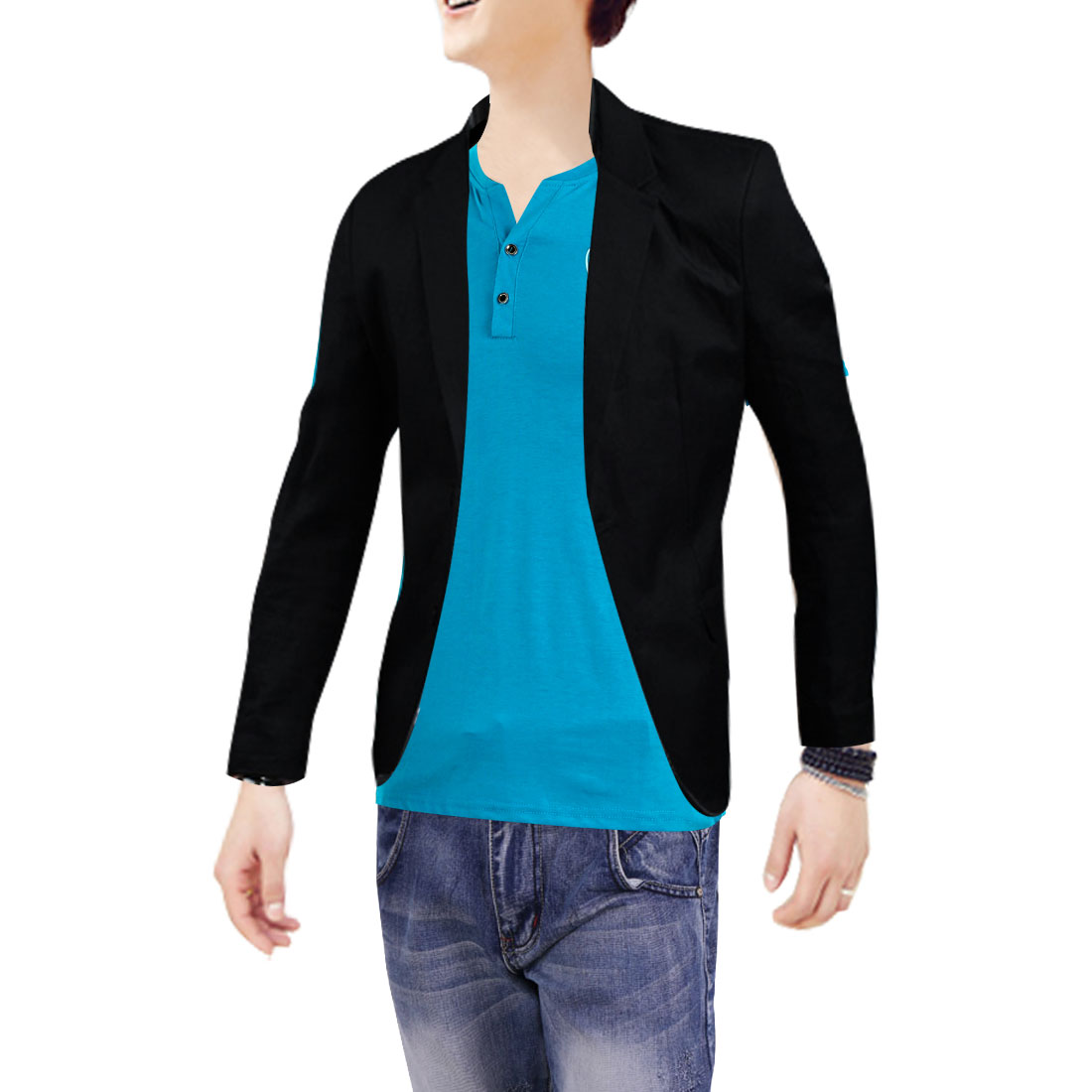 Stylish Two-Button Closure Design Pure Color Black Blazer for Man M