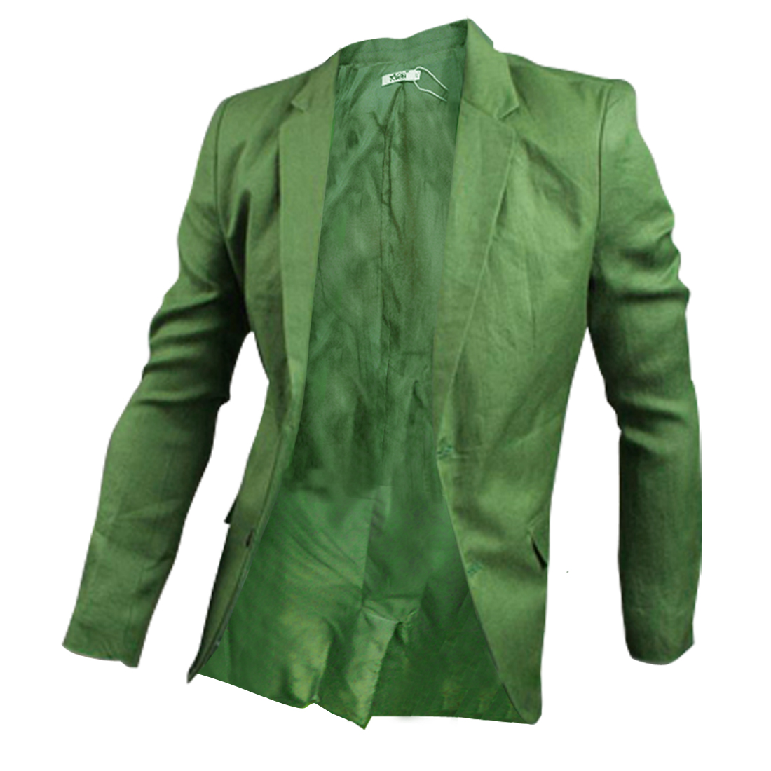Man Stylish Pure Green Color Notched Lapel Two-Button Closure Blazer M