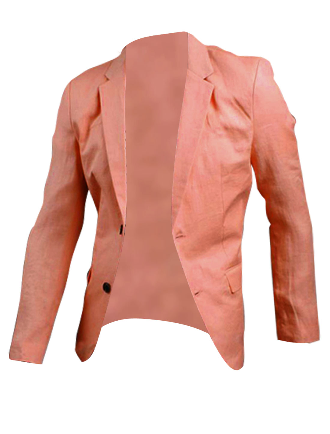 Mens Chic Notched Lapel Long Sleeve Two-Button Front Pink Casual Blazer M