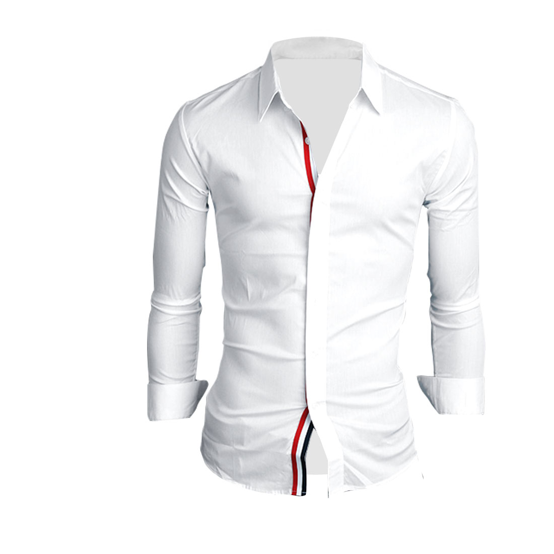 Men Chic Single-Breasted Front Long-Sleeved White Casual Shirt M