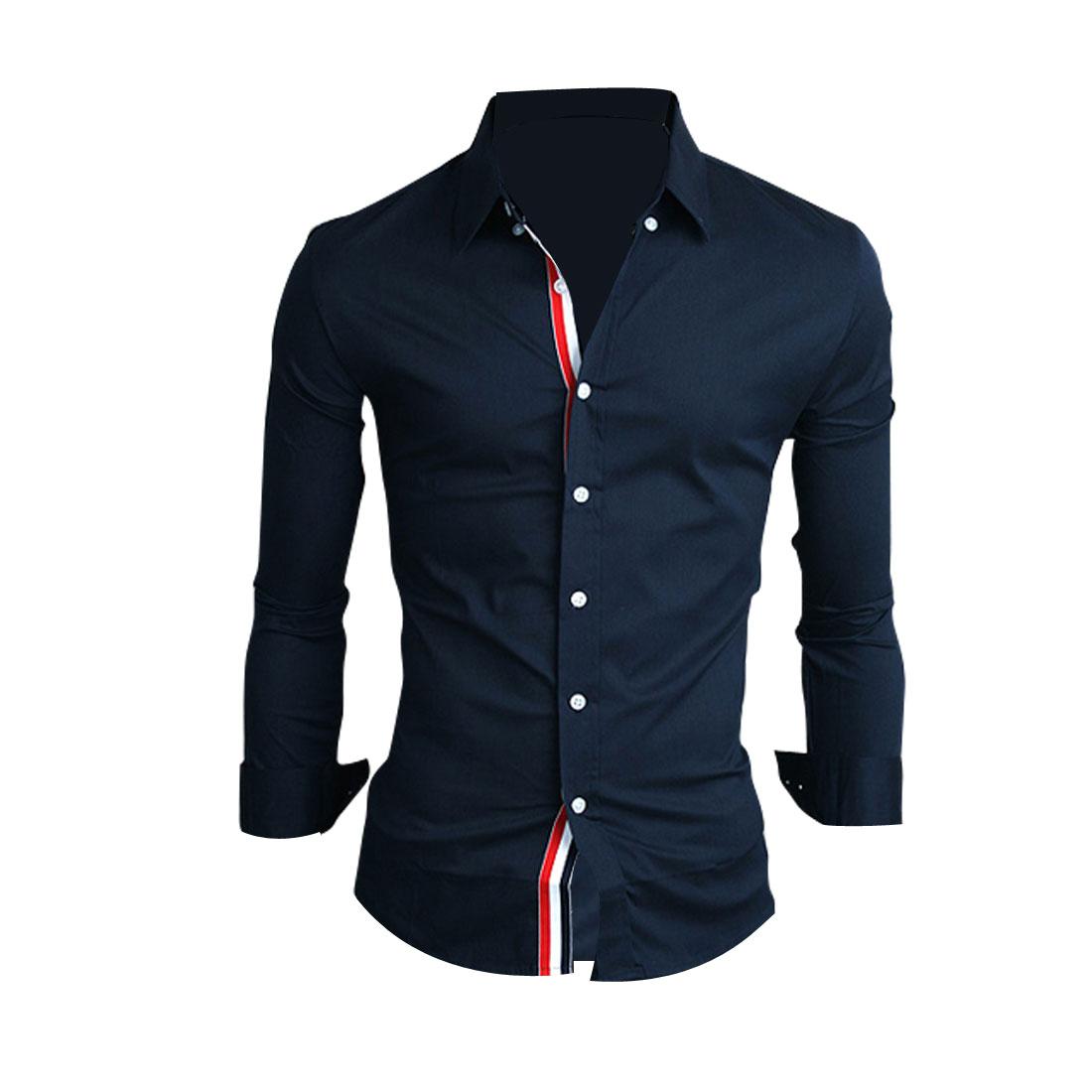 Mans Stylish Point Collar Stripes Detail Dark Blue Button Down Shirt M