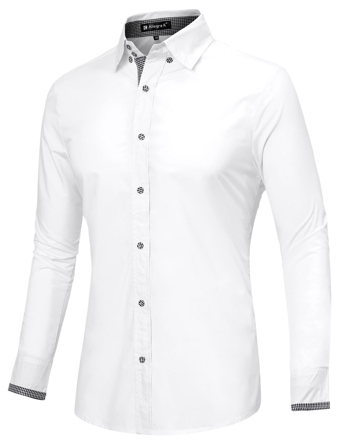 Mens NEW Style Point Collar Long Sleeve Plaids Detail White Casual Shirt M