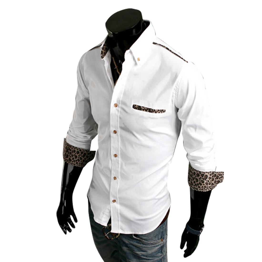Mens Chic Point Collar Long Sleeve Single-Breasted Front White Shirt M