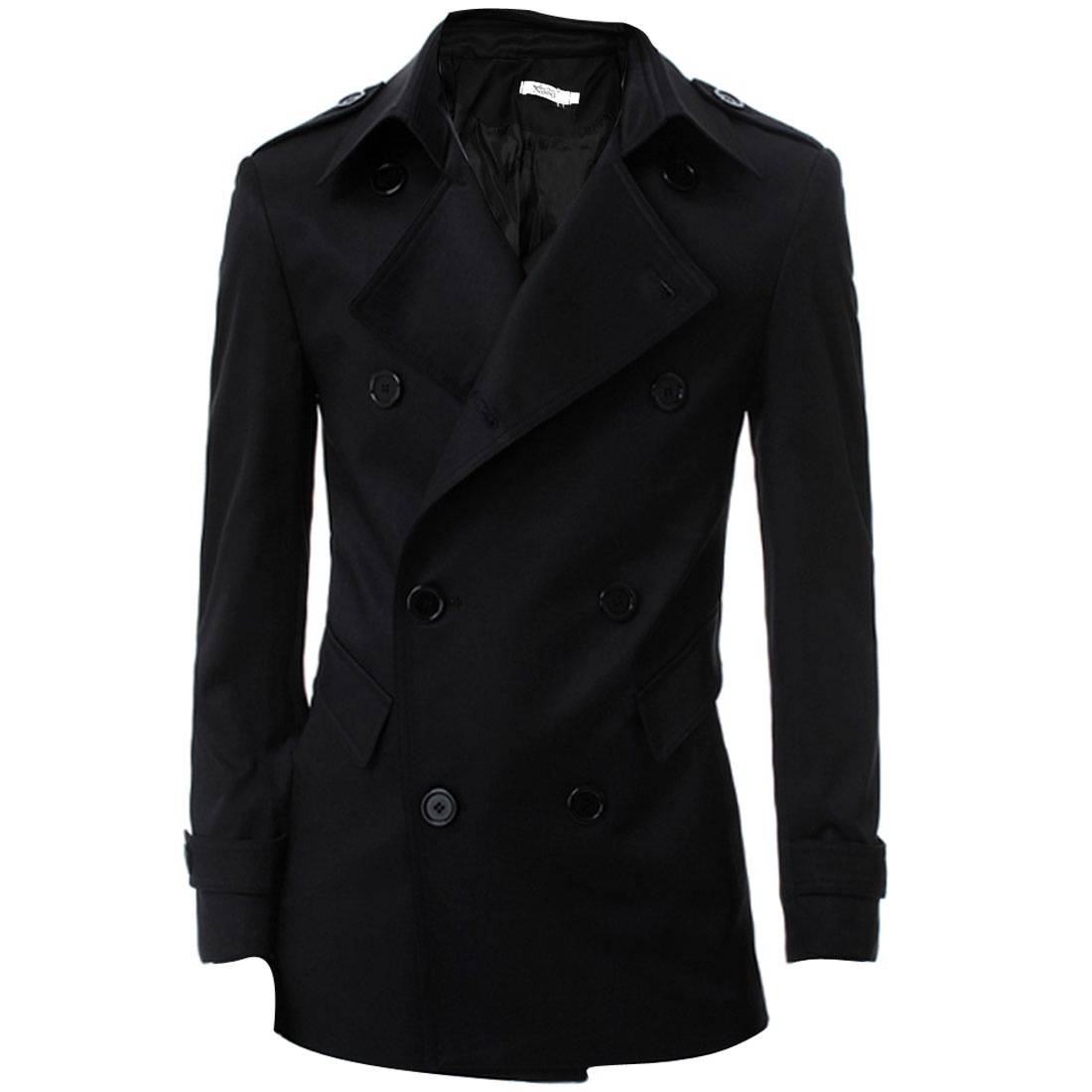 Man Stylish Double-Breasted Front Button-Tab Epaulets Black Trench Coat M