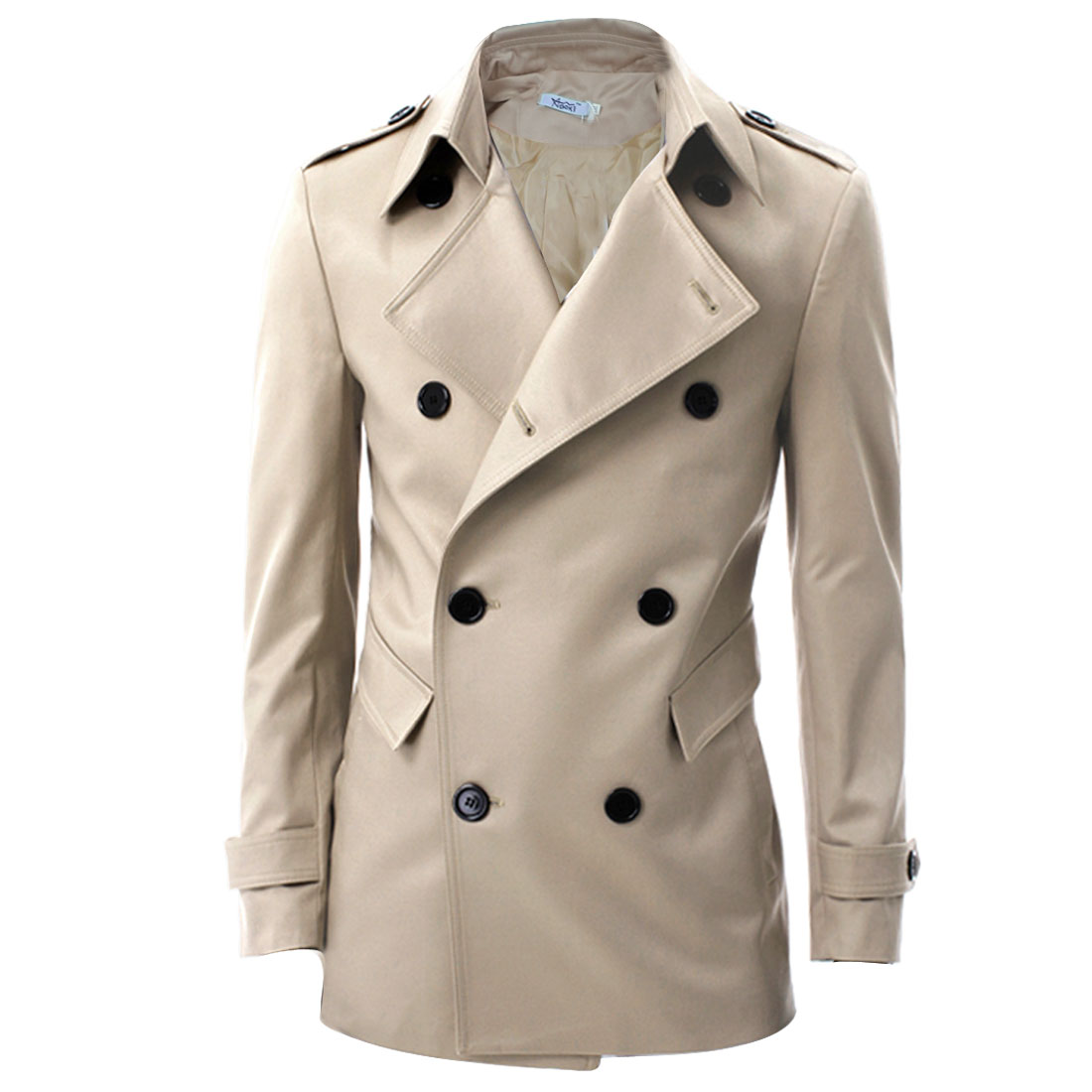 Mens Chic Double-Breasted Front Long Sleeve Khaki Spring Trench Coat M