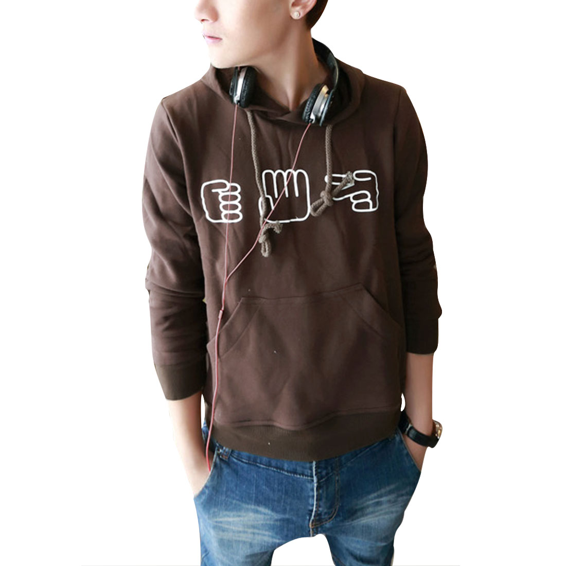 Men Pullover Long Sleeve Hands Pattern Hoodies Coffee M
