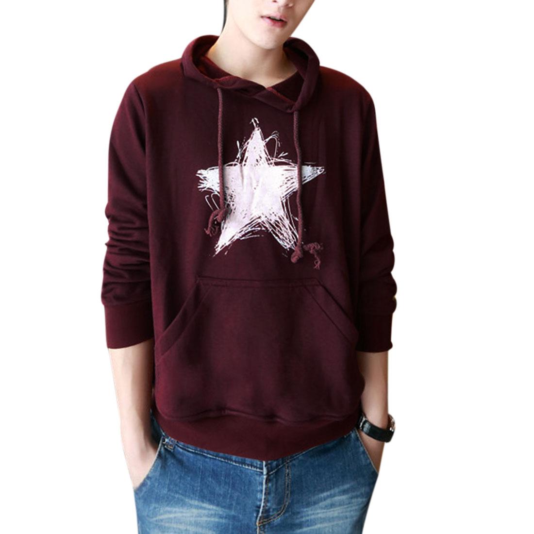 Men Pullover Long Sleeve Star Pattern Hoodies Burgundy M