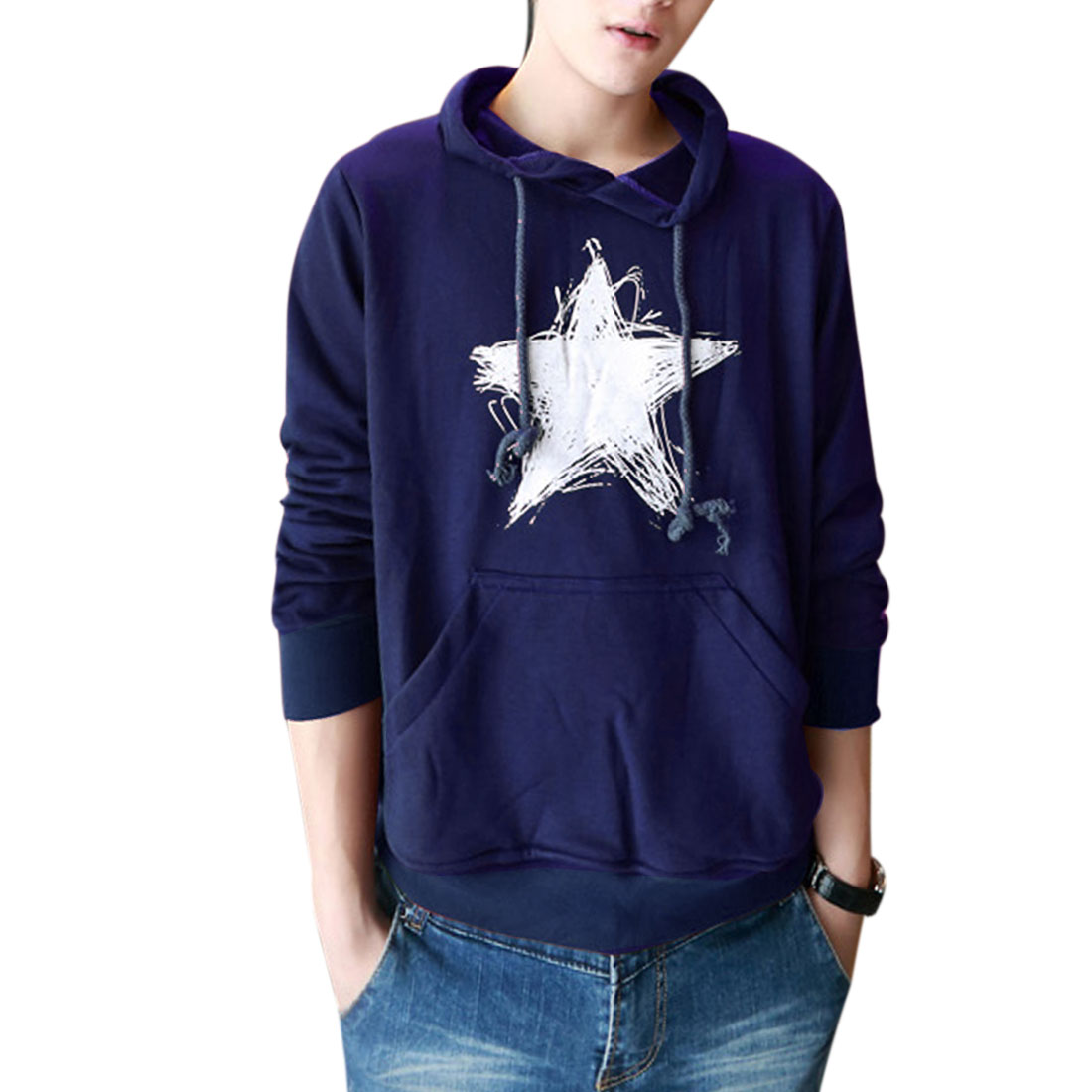 Men Drawstring Hooded Long Sleeve Hoodies Navy Blue M