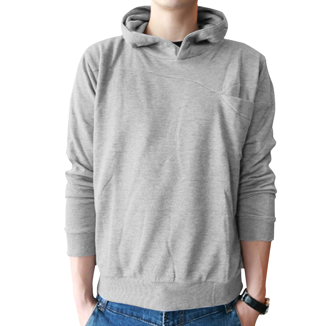 Men Light Grey L Long Sleeve Design Solid Color Pullover Stylish Hoodies