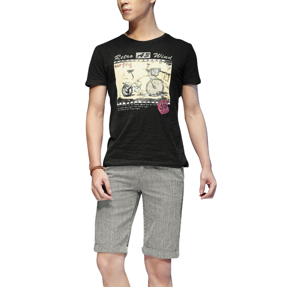 Men Round Neck Short Sleeve Letters and Bicycle Pattern Black T-Shirt M