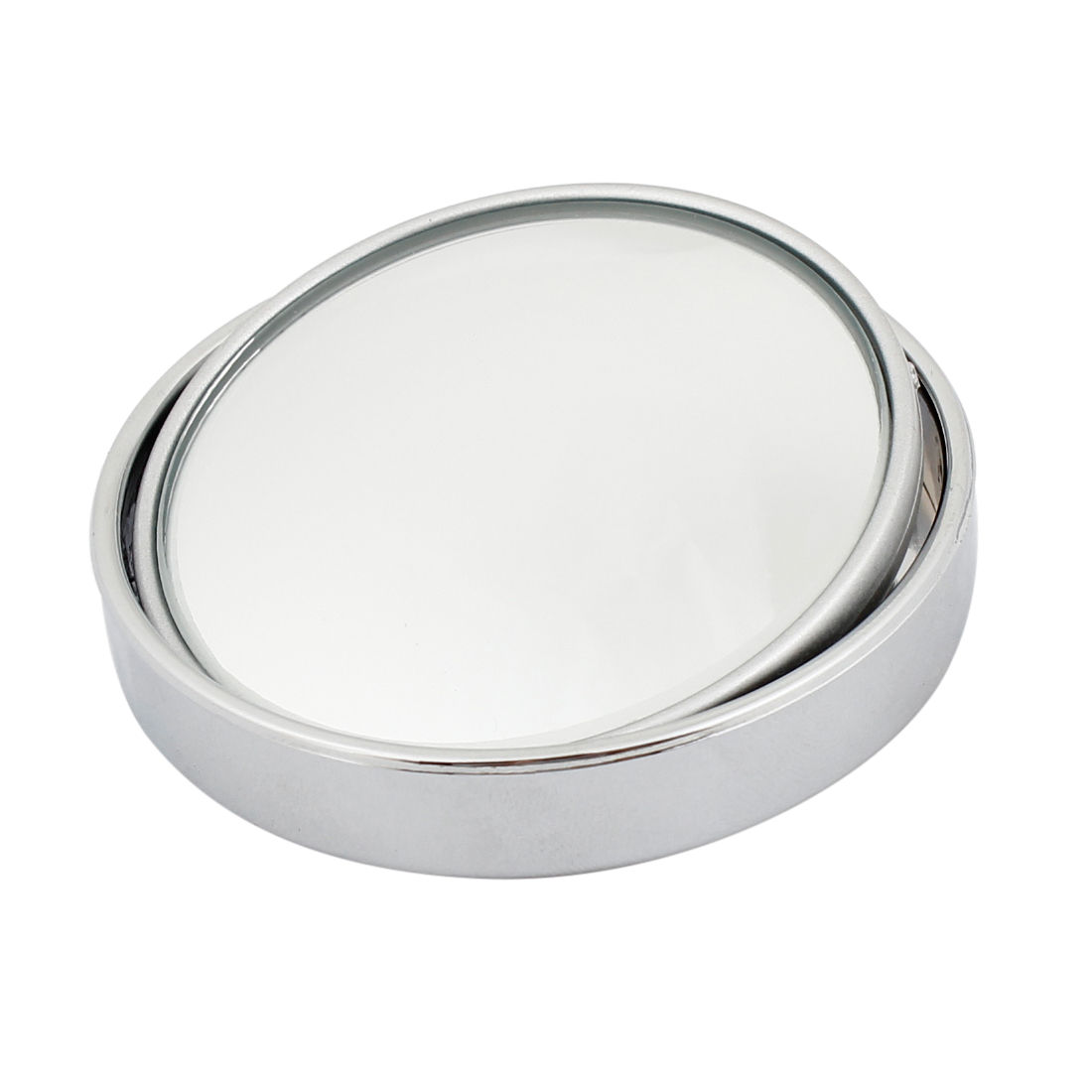 Adhesive Back Silver Tone Frame Blind Spot Mirror for Auto